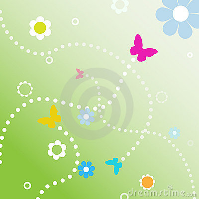 BuButterflies dotted line paths spring flowers