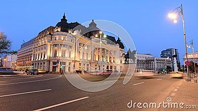 Bucharest czasu upływu materiał filmowy folował hd środkowej biblioteki zbiory