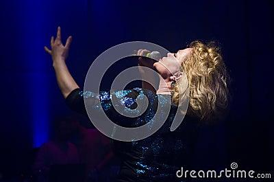 BUCHAREST - FEBRUARY 02: Marina Florea performs in Modern Club o Editorial Stock Photo