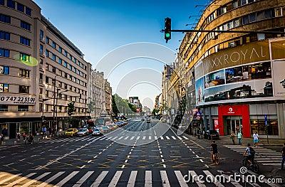 Bucharest Boulevard Editorial Stock Photo