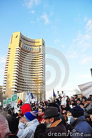 Bucharest Protest - University Square 9 Editorial Stock Image