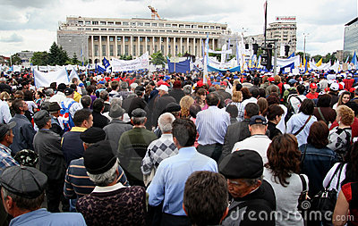 Bucharest Protestants in front of the Governement Editorial Photography