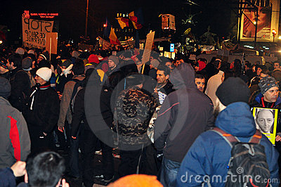 Bucharest Protests - 19 january 2012 -1  Editorial Photo