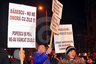 Bucharest Protests - 19 january 2012 - 2 Editorial Stock Photo