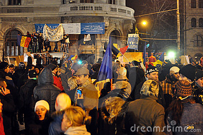 Bucharest Protests - 19 january 2012 - 8 Editorial Photo