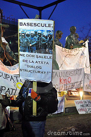 Bucharest Protests - 23 january 2012 Editorial Photo