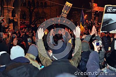 Bucharest Protesty 4 - 19 Styczeń 2012 - Zdjęcie Editorial
