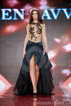 BUCHAREST, ROMANIA - DECEMBER 1-4: Fashion model w Editorial Stock Image