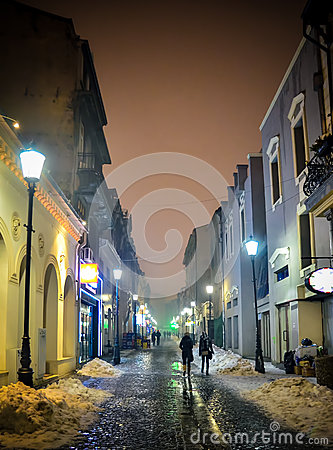 A Bucharest s street by night Editorial Photography