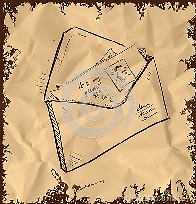 Buchstabe und Fotos im Umschlag