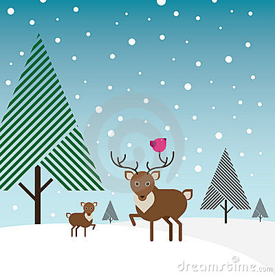 Buck, deer and bird in snow with pine trees
