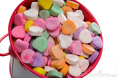 Bucket of Candy Valentine s Hearts - Close-up
