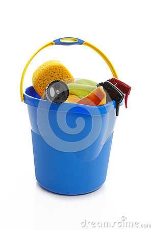 Bucket and car cleaning products