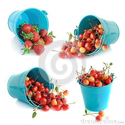 The bucket of cherries and strawberries set