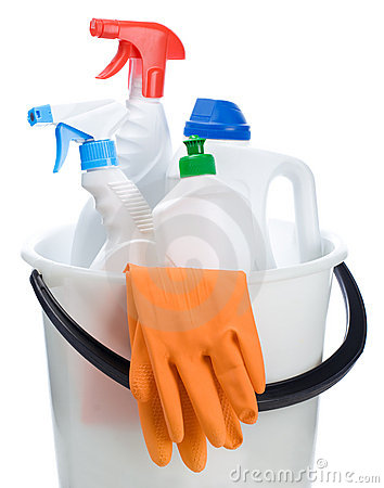 Bucket of cleaners