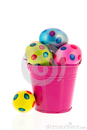 Bucket with easter eggs