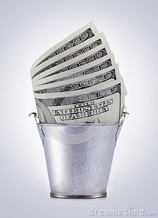 Bucket with dollars