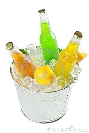 Bucket on ice with beverages