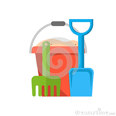 Free Bucket, Rake And Shovel With Sand Stock Images - 93461184