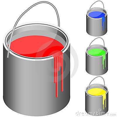 Bucket set with paint