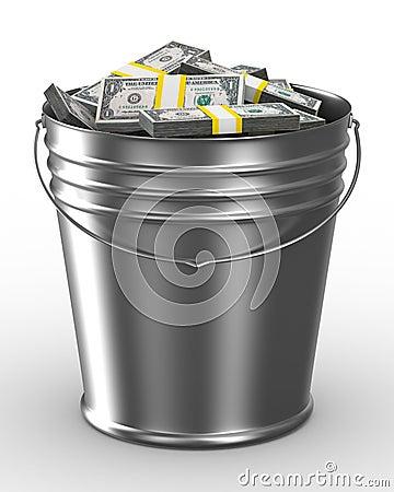 Free Bucket With Money On White Background Stock Image - 12931381