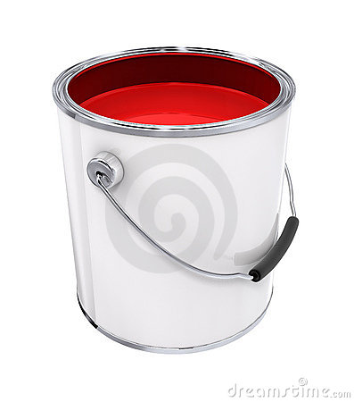 Free Bucket With Red Paint Royalty Free Stock Photo - 3353535