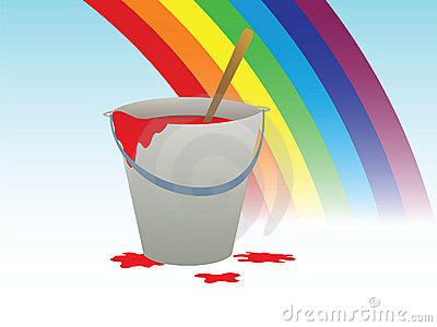 Buckets with paint and rainbow