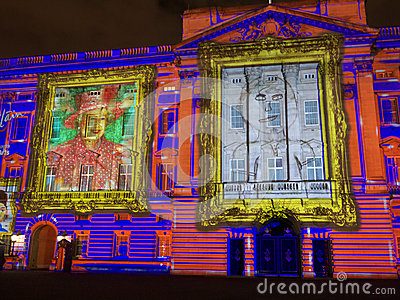 Buckingham Palace projection of portraits Editorial Image