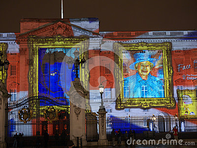 Buckingham Palace projection of portraits Editorial Stock Image