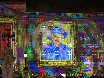 Buckingham Palace projection of Queen s portrait a Editorial Stock Photo