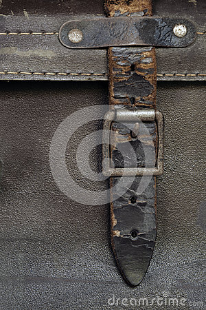 Buckle and Leather Strap on Vintage Suitcase