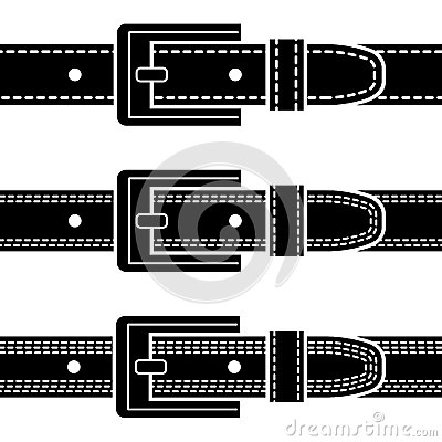 Free Buckle Quilted Belt Black Symbols Royalty Free Stock Image - 30859466