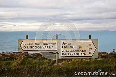 Buckshot highway signs in The Burren
