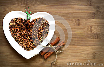 Buckwheat heart-shaped with cinnamon