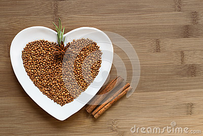 Buckwheat on a heart shaped plate