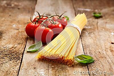 Bucnch of raw spaghetti