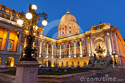 The Buda Castle in Budapest with a streetlight