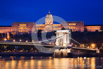 Buda Castle and Chain Bridge. Budapest, Hungary