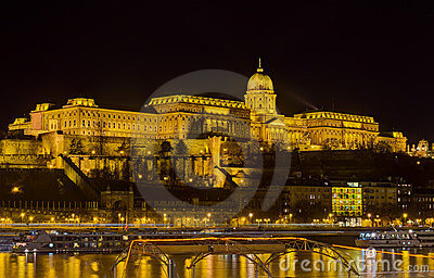 Buda castle night view, Budapest, Hungary
