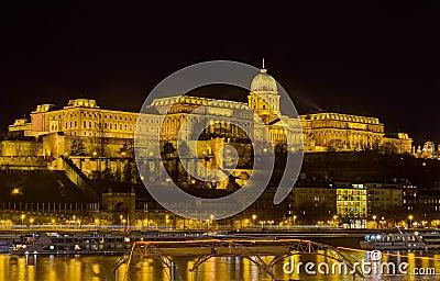 Buda castle night view, Budapest, Hungary