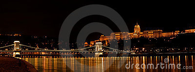 Buda castle and Szechenyi bridge