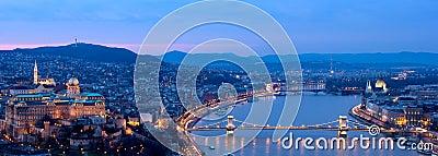 Budapest blue hour panorama