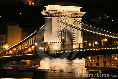Budapest bridge by night