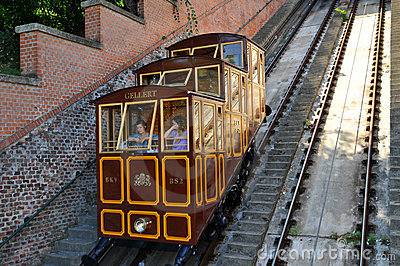 Budapest Castle Hill Funicular - car lifts Gellert Editorial Stock Photo