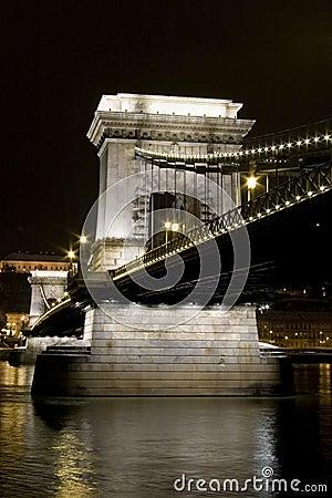 Budapest chain bridge danube night long exposure