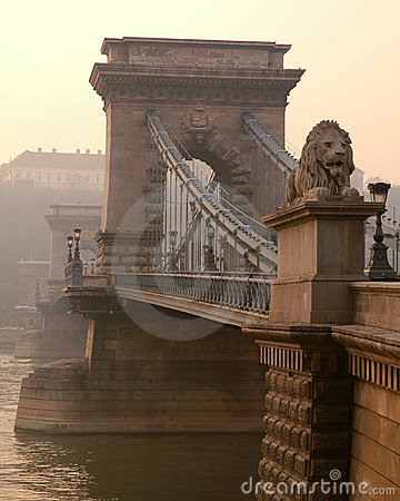 Budapest chain bridge and lion