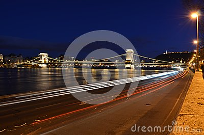 Budapest Chain Bridge by night