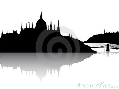 Budapest city view with reflection