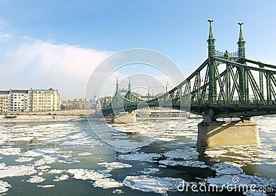 Budapest, ice drift on the Danube