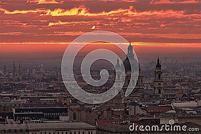 Budapest Morning Sky on Fire